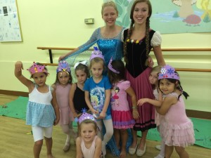 "Our ""Frozen"" summer dance campers with Elsa and Anna."